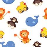 Modèle sans couture puéril avec les animaux adorables drôles de jouet - singe, canard, baleine, lion sur le fond blanc coloré illustration libre de droits
