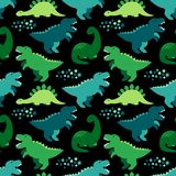 Modèle sans couture puéril mignon avec des dinosaures idéaux pour les tissus, le papier peint et les différentes surfaces illustration de vecteur