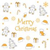 Modèle sans couture réglé d'icône de Noël Vacances de Noël et de nouvelle année Image libre de droits