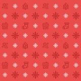 Modèle sans couture réglé d'icône de Noël Fond d'icônes de vacances de Noël et d'hiver Texture plate de vecteur de conception Images libres de droits