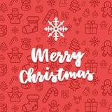 Modèle sans couture réglé d'icône de Noël Fond plat d'icônes de vecteur de vacances de Noël et d'hiver Photo libre de droits