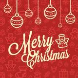 Modèle sans couture réglé d'icône rouge et jaune de Noël Fond plat d'icônes de vecteur de vacances de Noël et d'hiver Image libre de droits