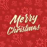 Modèle sans couture réglé d'icône rouge et jaune de Noël Fond plat d'icônes de vecteur de vacances de Noël et d'hiver Images libres de droits