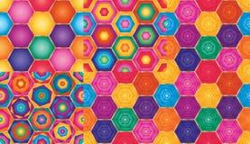 Modèle sans couture réglé de grande couche lumineuse d'hexagone illustration de vecteur