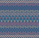 Modèle sans couture rayé ornemental indigène décoratif de textile ethnique dans le vecteur Fond sans fin de couleur Image libre de droits