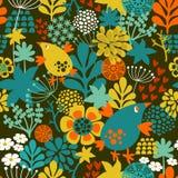 Modèle sans couture romantique avec les fleurs et les oiseaux mignons de vintage illustration de vecteur