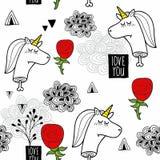 Modèle sans couture romantique avec les licornes mortes noires et blanches Photo stock