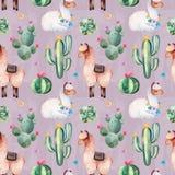 Modèle sans couture rose avec le cactus vert d'aquarelle, les succulents, les fleurs multicolores et les lamas mignons image stock