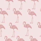 Modèle sans couture rose de flamant avec les illustrations tirées par la main illustration libre de droits