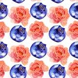 Modèle sans couture rose de fleurs et de baies d'aquarelle Image libre de droits