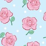 Modèle sans couture rose de roses et de points de blanc Photo libre de droits
