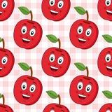 Modèle sans couture rouge d'Apple de bande dessinée Images stock