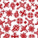 Modèle sans couture rouge de crucifix chrétiens antiques illustration de vecteur