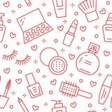 Modèle sans couture rouge de soin de beauté de maquillage avec la ligne plate icônes Illustrations de cosmétiques de rouge à lèvr illustration libre de droits