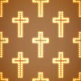 Modèle sans couture rougeoyant de croix religieuses Image stock