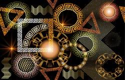 Modèle sans couture rougeoyant géométrique du vecteur 3d grec illustration stock