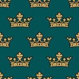 Modèle sans couture royal avec les couronnes d'or Image libre de droits