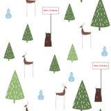 Modèle sans couture scandinave d'arbre de Noël d'abrégé sur tiré par la main vecteur, d'ours et de cerfs communs illustration stock