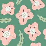 Modèle sans couture simple avec les fleurs tirées par la main abstraites Image libre de droits