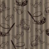 Modèle sans couture Steampunk avec la vieille bicyclette et les lunettes en laiton Image stock