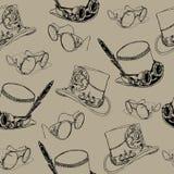 Modèle sans couture Steampunk avec le chapeau supérieur de steampunk et les lunettes en laiton Photo stock