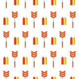 Modèle sans couture sur le fond blanc Barbecue, gril, saucisse, illustration libre de droits