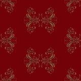 Modèle sans couture sur le fond rouge foncé de l'ornement floral de vintage abstrait dans des tons bruns illustration libre de droits