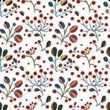 Modèle sans couture sur un fond blanc avec les branches lumineuses des fleurs et des baies Image libre de droits