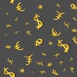 Modèle sans couture tailles principales de symboles monétaire d'argent de différentes sur le gris Illustration de vecteur Images stock