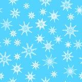 Modèle sans couture, texture avec des flocons de neige sur le fond bleu illustration libre de droits
