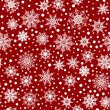 Modèle sans couture, texture avec les flocons de neige blancs et neige sur le fond rouge illustration de vecteur
