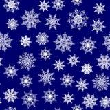 Modèle sans couture, texture avec les flocons de neige blancs sur le fond bleu-foncé illustration libre de droits