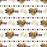 Modèle sans couture tiré par la main élégant avec des vélos et des coeurs dans la couleur d'or Fond de vecteur avec la bicyclette Images stock