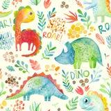 Modèle sans couture tiré par la main avec des dinosaures et des éléments floraux Conception mignonne d'illustration d'aquarelle illustration libre de droits