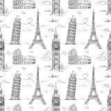 Modèle sans couture tiré par la main avec des vues de l'Europe Image stock