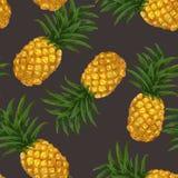 Modèle sans couture tiré par la main avec l'ananas dedans Image stock