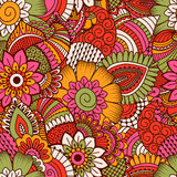Modèle sans couture tiré par la main avec les éléments floraux Image stock