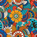 Modèle sans couture tiré par la main avec les éléments floraux Photographie stock libre de droits