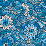 Modèle sans couture tiré par la main avec les éléments floraux Image libre de droits