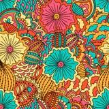Modèle sans couture tiré par la main avec les éléments floraux Photo libre de droits