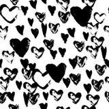 Modèle sans couture tiré par la main avec les coeurs noirs Photo stock