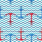 Modèle sans couture tiré par la main d'aquarelle avec les ancres rouges et bleues Conception nautique mignonne et simple Image stock