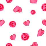 Modèle sans couture tiré par la main d'aquarelle Fond avec les coeurs et les cercles roses Photos stock