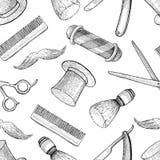 Modèle sans couture tiré par la main de Barber Shop de vintage de vecteur détaillé Photos stock
