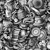 Modèle sans couture tiré par la main de Chambre de thé de griffonnages mignons de bande dessinée Image stock