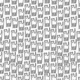 Modèle sans couture tiré par la main de chaton drôle Ligne noire et blanche Photos libres de droits