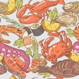 Modèle sans couture tiré par la main de fruits de mer Fond avec le poulpe, le crabe et le homard Image libre de droits