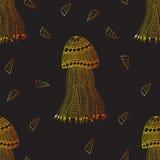 Modèle sans couture tiré par la main de méduses et d'escargots Image libre de droits