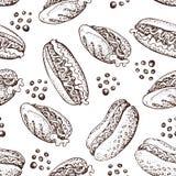 Modèle sans couture tiré par la main de vecteur de hot-dog Illustration de griffonnage des aliments de préparation rapide Images stock