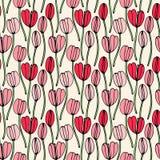 Modèle sans couture tiré par la main floral de vintage Fleurs de fantaisie abstraites tirées par la main Style folklorique de pei Images libres de droits